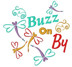 Dragonfly Buzz On By embroidery design
