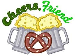 Beer Pretzel Cheers Friend embroidery design