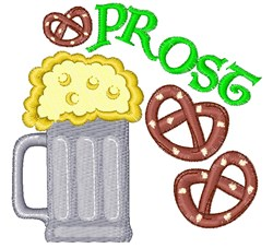 Beer Pretzel Prost embroidery design