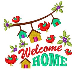Bird Houses Welcome Home embroidery design