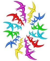 Bird Rainbow embroidery design