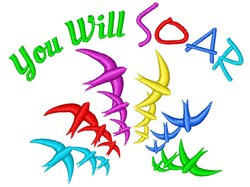 Bird Rainbow You Will Soar embroidery design