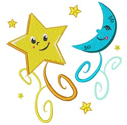 Twinkle Star and Moon embroidery design