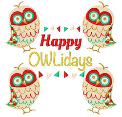 Owl Happy Owlidays embroidery design