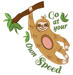 Sloth Go At Your Own Speed embroidery design