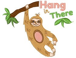 Sloth Hang In There embroidery design