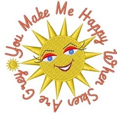 Sun You Make Me Happy When Skies Are Grey embroidery design