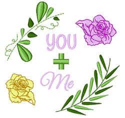 Wedding Florals You + Me embroidery design