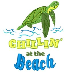 Turtle Chillin At The Beach embroidery design