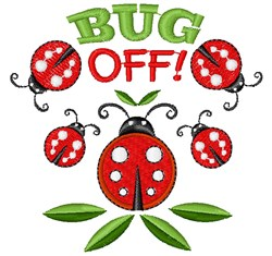 Ladybug Bug Off embroidery design