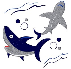 Sharks embroidery design