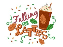 Falling For Lattes embroidery design