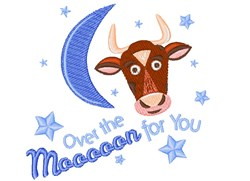 Cow Over The Mooooon For You embroidery design