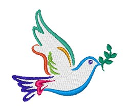 Colorful Dove Outline embroidery design