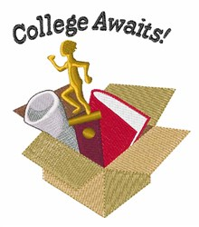 College Awaits embroidery design