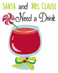 Need A Drink embroidery design