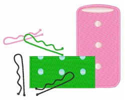 Hair Curlers embroidery design