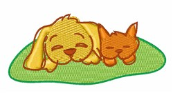 Cat & Dog embroidery design