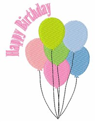 Happy Birthday Balloons embroidery design