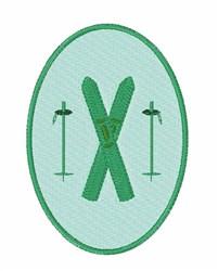 Ski Oval embroidery design