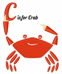 C Is For Crab embroidery design
