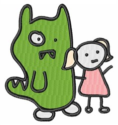 Monster & Girl Stick Figure embroidery design