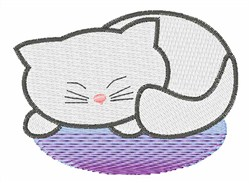 White Sleeping Kitty embroidery design