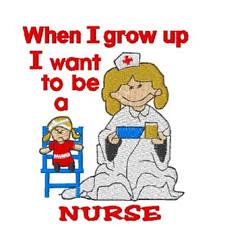 Grow Up Nurse embroidery design