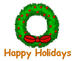 Happy Holidays Wreath embroidery design