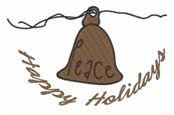 Happy Holiday Bell embroidery design