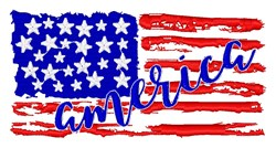 American Flag Distressed embroidery design