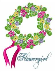 Flowergirl Head Wreath embroidery design