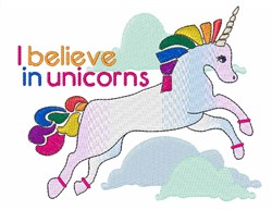 I Believe In Unicorns embroidery design