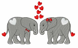 Two Valentine Elephants embroidery design