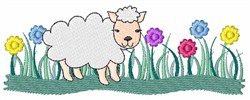 Floral Lamb embroidery design