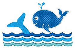 Blue Whales embroidery design