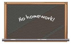 No Homework embroidery design