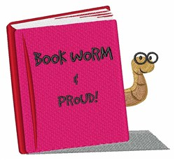 Proud Book Worm embroidery design