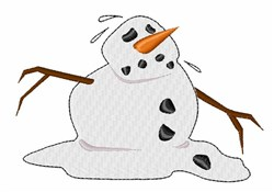Snowman Melting embroidery design