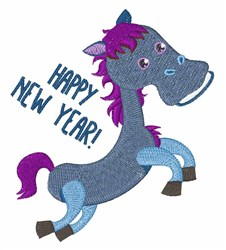 Happy New Year Pony embroidery design