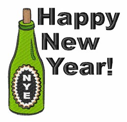 Happy New Year Drink embroidery design