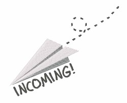 Incoming Paper Airplane embroidery design