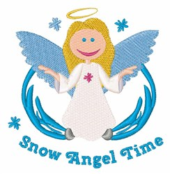 Snow Angel Time embroidery design