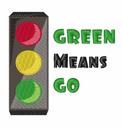 Green Means Go embroidery design