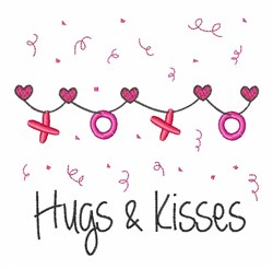 Hugs & Kisses embroidery design