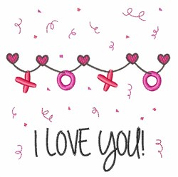 I Love You Banner embroidery design