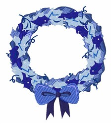 Blue Wreath embroidery design