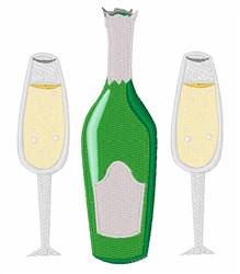 Champagne Glasses embroidery design