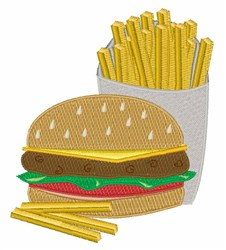 Burger and Fries embroidery design