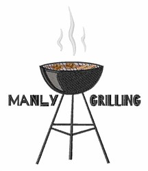 Manly Grilling embroidery design